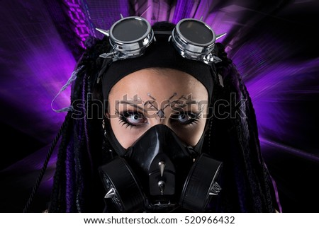 Cyber Gothic girl with rays of light in a dark background