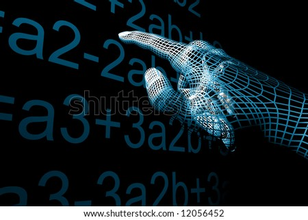 cyber hand mathemathics - stock photo