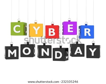Cyber Monday - cubes hanging on white background - stock photo