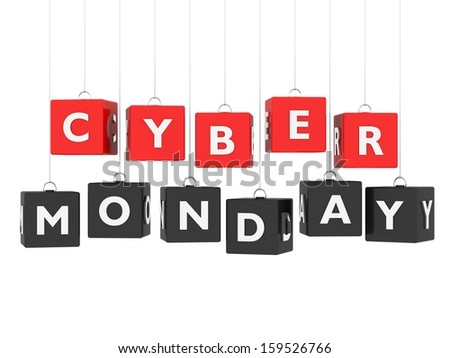 Cyber Monday - red and black cubes hanging on white background - stock photo