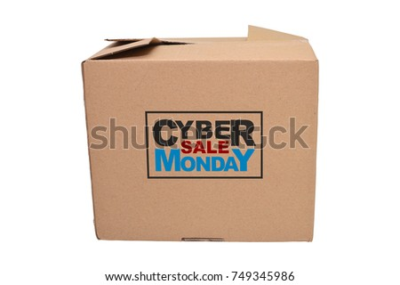 Cyber Monday Sale closed box cardboard box held by wood mannequin white background