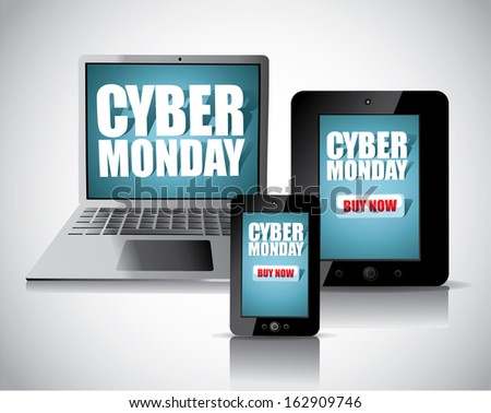 Cyber Monday smartphone, tablet and laptop. jpg. - stock photo