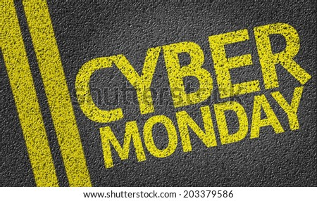 Cyber Monday written on the road - stock photo