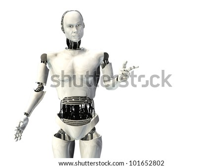 cyber robot man pointing isolated - stock photo