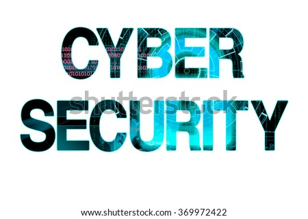 cyber security bright laser writing on a white background - stock photo