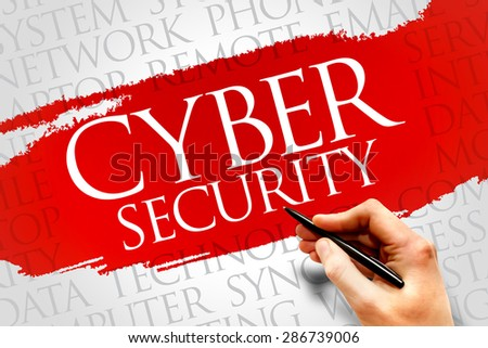 Cyber Security word cloud concept - stock photo