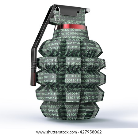 cyber terrorism concept computer bomb isolated on white, 3d illustration