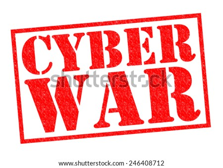CYBER WAR red Rubber Stamp over a white background. - stock photo
