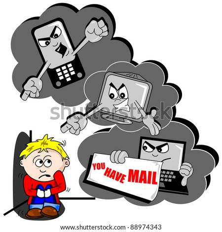 Cyberbullying cartoon with scared child mobile phone and PC - stock photo