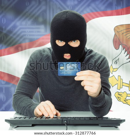 Cybercrime concept with flag on background - American Samoa
