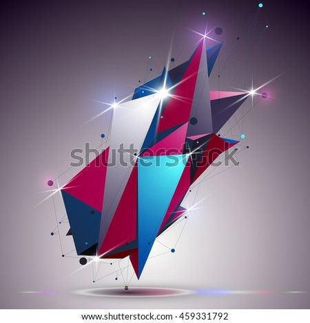 Cybernetic dimensional apex technology object with lines mesh. 3d colorful shiny complicated structure, can be used in web and graphic design. - stock photo