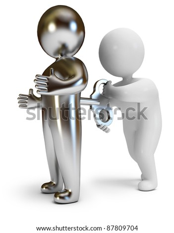cybernetic organism, on a white background, 3d render - stock photo