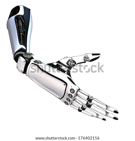 Cybernetic scene isolated on white background. Sci-fi robot arm, made of compound metallic as a part of a mechanism - stock photo