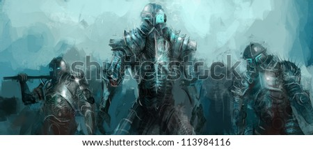 cybernetics army, concept art soldiers - stock photo