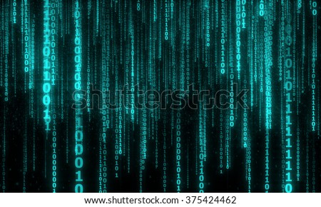 cyberspace with blue digital falling lines, abstract background, binary hanging chain - stock photo