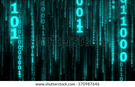 cyberspace with digital falling lines, binary hanging chain, abstract background with blue digital lines - stock photo