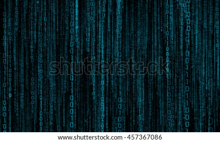 cyberspace with digital lines, binary hanging chain, abstract background with blue digital lines - stock photo
