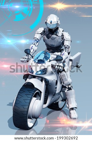 Cyborg and a motorcycle on the mirror surface. - stock photo