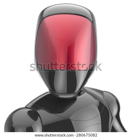 Cyborg black robot bot android futuristic cyberspace character artificial high tech concept red shiny face metallic. 3d render isolated on white background - stock photo
