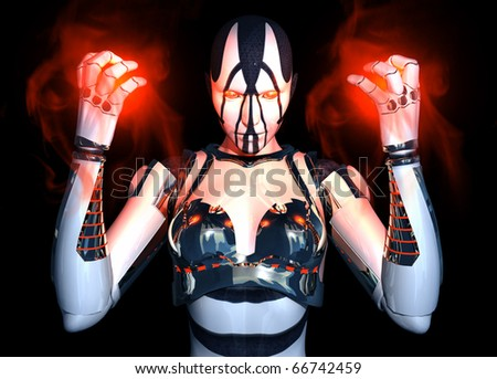Cyborg character holding energy looking into camera - stock photo