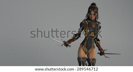 cyborg female with sai - stock photo