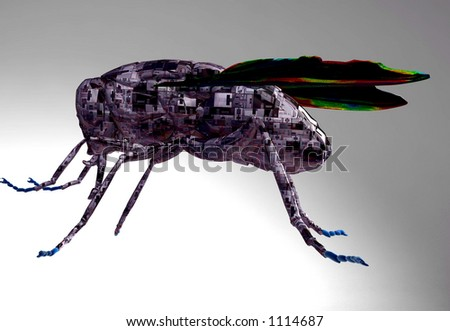 cyborg fly - stock photo
