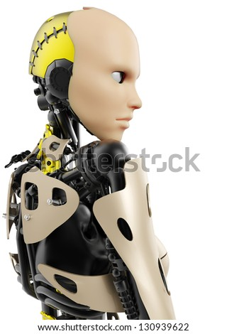 cyborg girl side view - stock photo