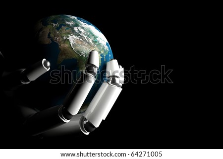 Cyborg hand protecting earth on a black background