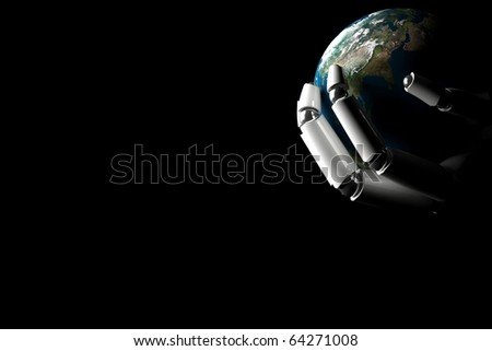 Cyborg hand shows the earth on a black background