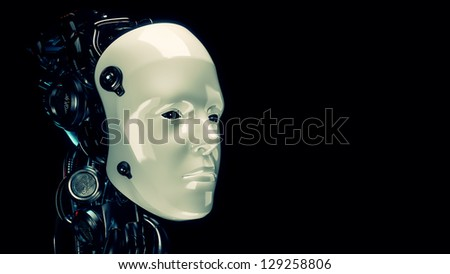 Cyborg human-like robotic head in profile. 3d render - stock photo
