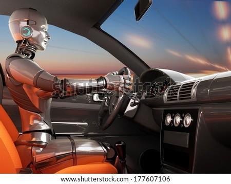 Cyborg in a modern car. - stock photo