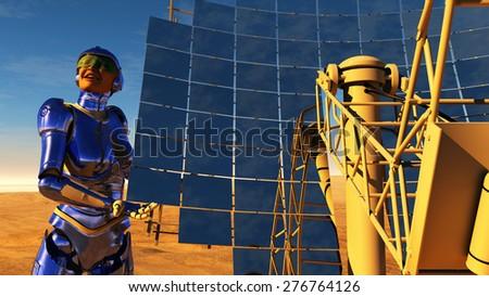 Cyborg next solar battery in the desert. - stock photo