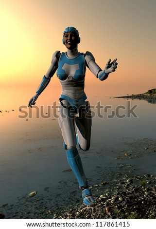 Cyborg runs along the beach.