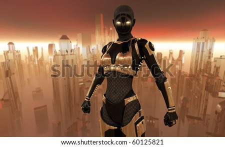 Cyborg standing tall with a futuristic city in background - stock photo