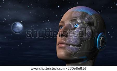 Cyborg woman with night sky background - stock photo