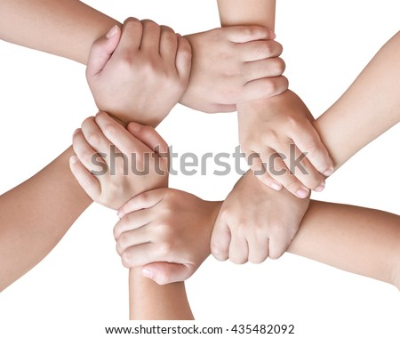 Cycle of children young generation's hands holding together isolated on white background with clipping path: Circle ring of people friendship connectivity togetherness unity: Global linkage concept  - stock photo