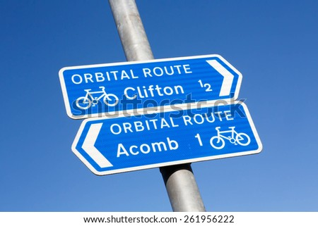 Cycle route directional sign in York, England - stock photo