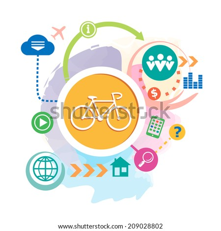 Cycling and cloud on abstract background. Raster version for the print, banner. - stock photo