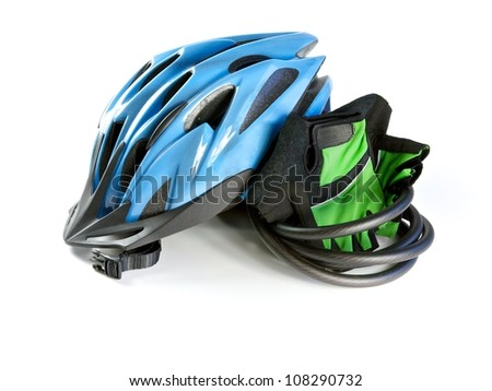 Cycling, Biking Helmet with riding gloves and lock - stock photo