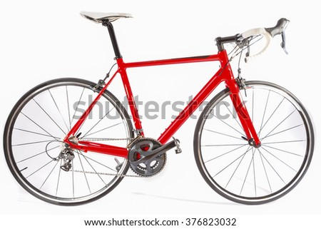Cycling Concept. Professional Carbon Fiber Road Bike Isolated Over White Background. Horizontal Image Composition - stock photo