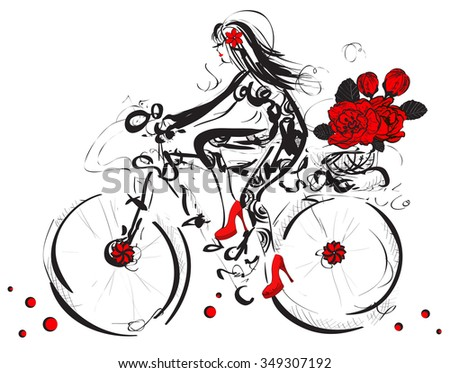 cycling Girl with floral bouquet. Raster version  - stock photo