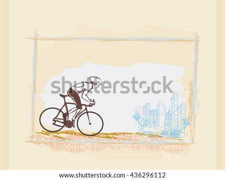 Cycling Grunge Poster Template  - stock photo