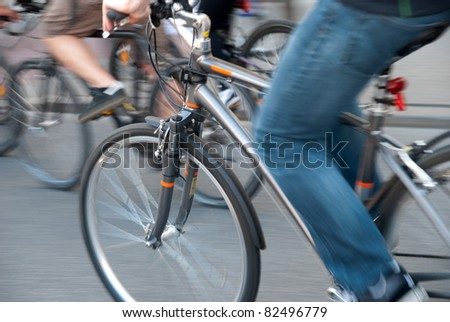 Cycling in a city - stock photo
