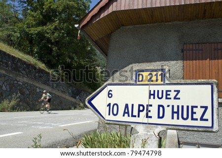 Cycling in France, from Alpe D`Huez.Tour de