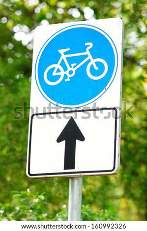 Cycling Sign on a Pole