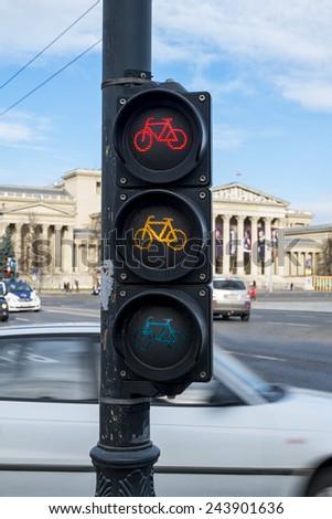 Cycling traffic light - stock photo
