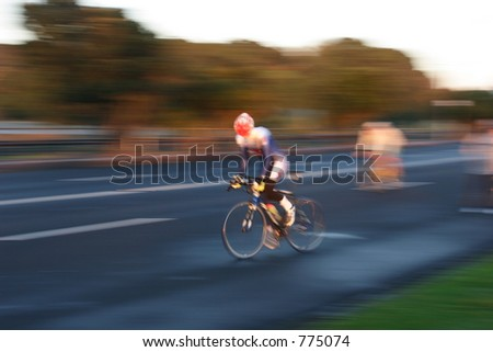Cyclist at Speed - stock photo