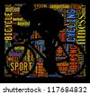 Cyclist info-colorful text graphic arrangement concept in cyclist shape on black background - stock