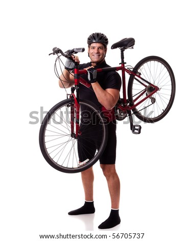 Cyclist With Bike - stock photo