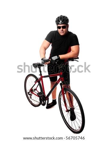 Cyclist With Bike - stock photo